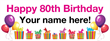 PVC Banner - 8ft x 3ft - Birthday - 3 - 80th - White