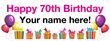 PVC Banner - 8ft x 3ft - Birthday - 3 - 70th - White