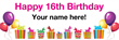 PVC Banner - 6ft x 2ft - Birthday - 3 - 16th - White