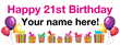 PVC Banner - 8ft x 3ft - Birthday - 3 - 21st - White
