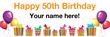 PVC Banner - 6ft x 2ft - Birthday - 3 - 50th - White