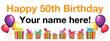 PVC Banner - 8ft x 3ft - Birthday - 3 - 50th - White