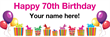 PVC Banner - 6ft x 2ft - Birthday - 3 - 70th - White