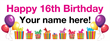 PVC Banner - 8ft x 3ft - Birthday - 3 - 16th - White
